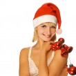 Mrs. Santa with Christmas decorations — Stock Photo