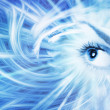 Human eye on blue abstract background — Stock Photo #4959560