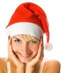 Mrs. Santa dreaming about Chrismas presents isolated on white ba — Stock Photo