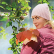 Beautiful girl with autumn leaves near the apple tree and blue f - Stock Photo