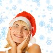 Stok fotoğraf: Mrs. Santa dreaming about Chrismas presents isolated on white ba