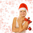 Mrs. Santa with Christmas decoration — Stock Photo