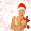 Mrs. Santa with Christmas decoration — Stock Photo #4959775