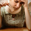 Sick blond girl - Stockfoto
