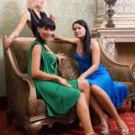 Three beautiful girls in luxury decorated room — Stock Photo #4959983
