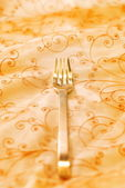 Royal luxury golden fork (shallow DoF) — Stock Photo