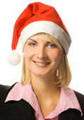 Young beautiful business woman in Christmas hat — Stock Photo