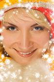 Sladká dívka v zimním oblečení detailní portrét — Stock fotografie