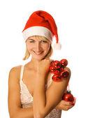 Paní santa vánoční dekoraci izolovaných na bílém poz — Stock fotografie