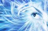 Human eye on blue abstract background — Stock Photo