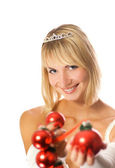 Beautiful princess with chrirstmas decoration — Stock Photo