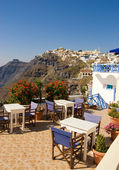 Restaurant with a beautiful landscape view (Santorini Island, Gr — Stok fotoğraf