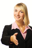 Beautiful business woman ready for a handshake. Isolated on whit — Stock Photo