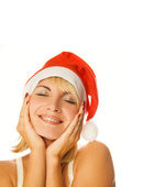 Mrs. Santa dreaming about Chrismas presents isolated on white ba — Stock Photo