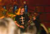 Metal band concert (zoom blur added to add some drive to the ima — Stock Photo