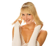 Beautiful blond girl with diamond diadem on her head isolated on — Stock Photo