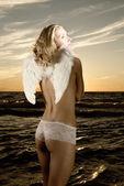 Beautiful angel (toned in sepia) — Stok fotoğraf