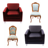 Furniture set isolated on white — Stock Photo