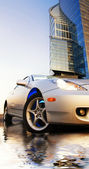 Sport car reflected in rendered water office building and clear — Stock fotografie