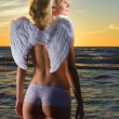 Beautiful angel in a sea at sunset time — Stock Photo #4960180