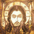 Portrait of Jesus made on metal plate - Stock Photo