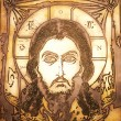 Portrait of Jesus made on metal plate - Stockfoto