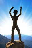 Homo sapiens sculpture in high mountains — Stock Photo