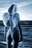 Beautiful angel in a sea at sunset time (toned in blue) — 图库照片
