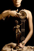 Sepia picture of a clock and beautiful young girl (focus on cloc — Foto de Stock