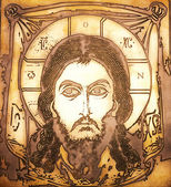 Portrait of Jesus made on metal plate — Stock Photo