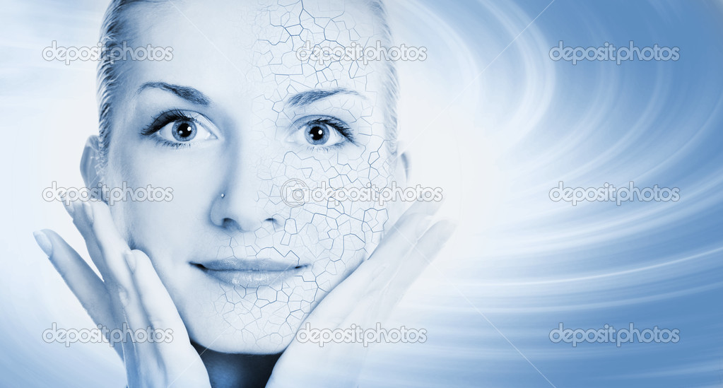 Girls face with half healthy and half itchy, dry skin  Stock Photo #4960075