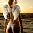 Sepia picture of a beautiful angel in a sea at sunset time — Stock Photo