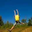 Girl jumping on a meadow — Stock Photo