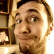 Sepia portrait of a funny guy - Stock Photo
