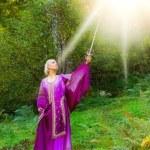 Beautiful girl with a magic sword — Stock Photo #5098532