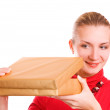 Blond girl with opening a box - Lizenzfreies Foto