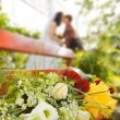 Wedding special moment (focus on flowers) - Stock Photo
