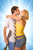 Young couple in love isolated on abstract background — Stock Photo