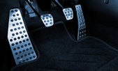 Sport car chrome pedals (toned in blue) — Stock Photo