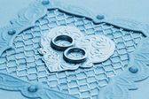 Luxury handmade wedding card element (toned in blue) — Stock Photo