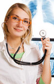 Young doctor in a laboratory — Stock Photo