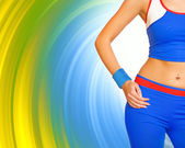 Fitness gir's body on abstract background — Stock Photo