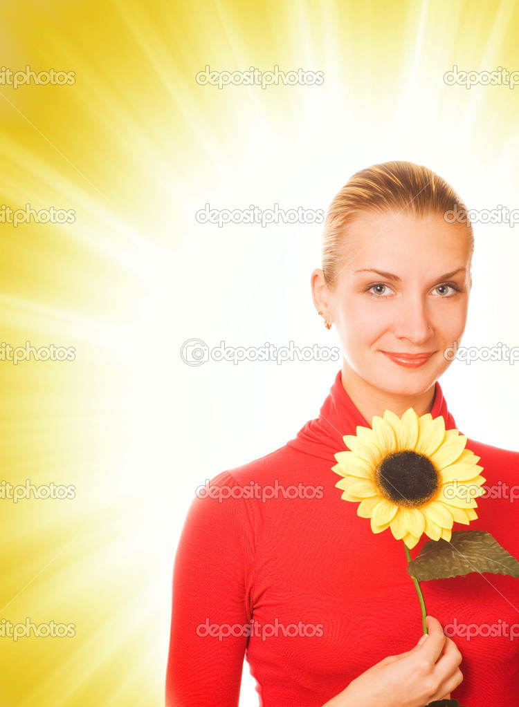 Beautiful girl with a sunflower on abstract background — Stock Photo #5098432