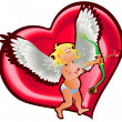 Angel and heart - Stock Vector