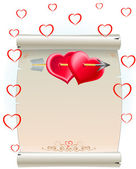 Two heart and package — Stock Vector