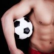 Soccer ball in hands — Stock Photo #2759726