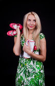 Picture of cute blonde with shoes — Stock Photo
