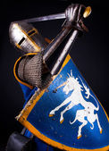 Mighty knight during fight — Stock Photo