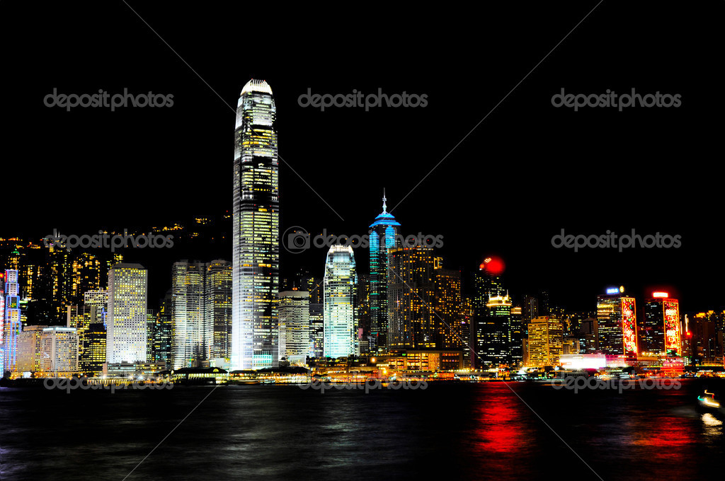 Hong Kong harbour at night   Stockfoto #2813500