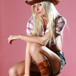 Portrait of a beautiful sexy rodeo girl — Stock Photo #2856180